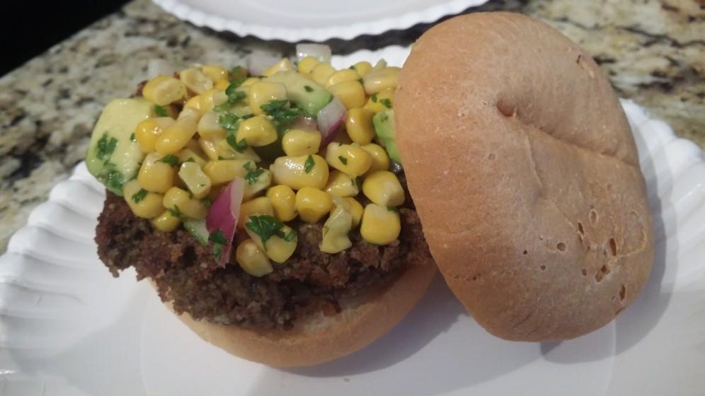 Black Bean Burgers Corn Avocado Salad
