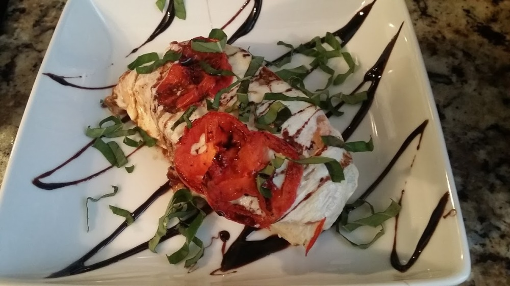 caprese chicken plated