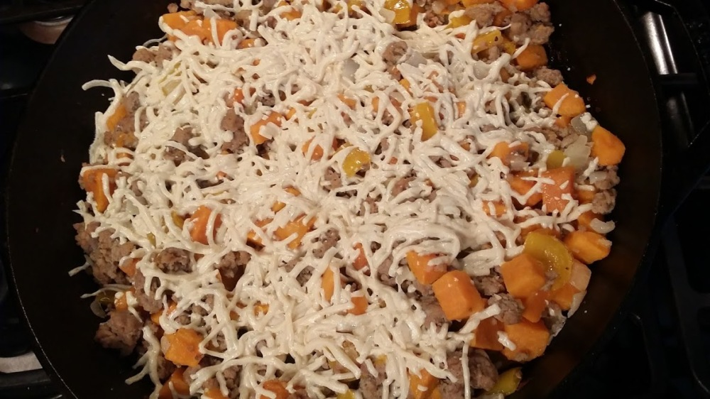 Sweet Potato Hash melted cheese