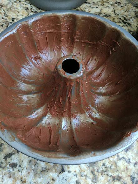 Orange Chocolate Cake greased pan
